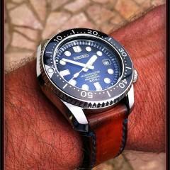 seiko marine master sur bracelet montre cuir canotage