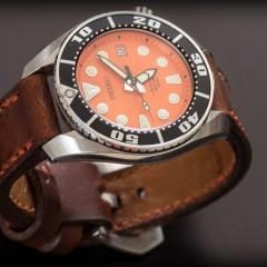 seiko sumo orange sur bracelet montre cuir ammo