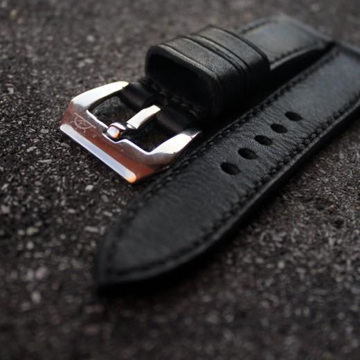 bracelet montre cuir noir