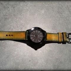 glycine combat sur bracelet montre cuir canotage modèle patiné