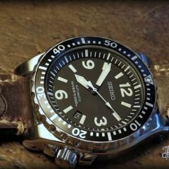 seiko spork sur bracelet montre cuir ammo