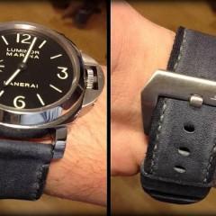 panerai luminor marina sur bracelet montre cuir canotage modele kallisté gris