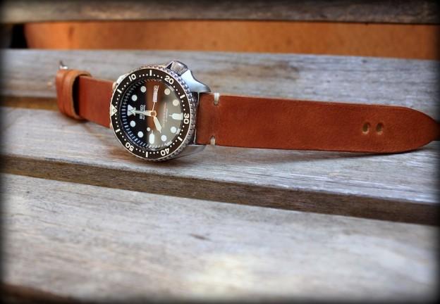 bracelet montre cuir canotage modele hunter pour seiko skx 007