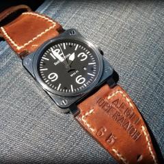 bell & ross 03-92 sur bracelet montre cuir ammo