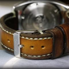 seiko sumo sur bracelet montre cuir canotage modèle patiné