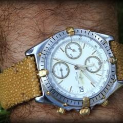 breitling sur bracelet montre galuchat jaune