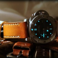 panerai submersible sur bracelet montre patiné