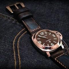 panerai sur bracelet montre patinée anaho