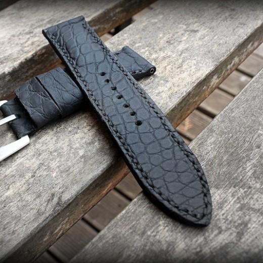 bracelet montre alligator vanuatu noir