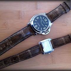panerai et baume et emrcier sur bracelet alligator vanuatu arabica