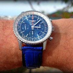 Breitling sur bracelet montre vanuatu alligator bleu
