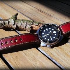 seiko turtle sur bracelet patiné lampedusa